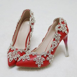 PU Slip-On Rhinestone Pointed Toe Red Wedding Shoes