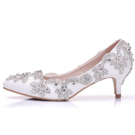 PU Pointed Toe Slip-On Wedding Shoes for Women