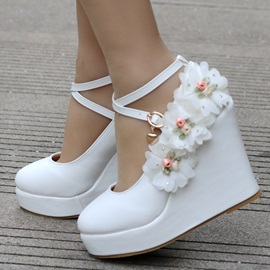 PU Floral Buckle Wedge Heel Wedding Shoes