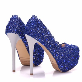 Mesh Slip-On Rhinestone Stiletto Wedding Shoes