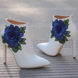 PU Pointed Toe Embroidery Back Zip Wedding Shoes