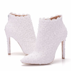PU Beads Pointed Toe Stiletto Wedding Shoes