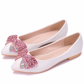 PU Bow Rhinestone Slip-On Wedding Shoes