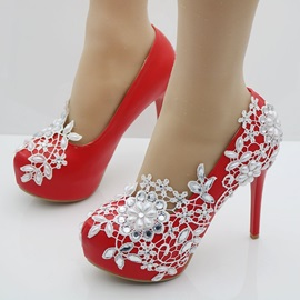 PU Beads Rhinestone Slip-On Wedding Shoes