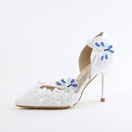 PU Appliques Chain Pointed Toe Floral Wedding Shoes