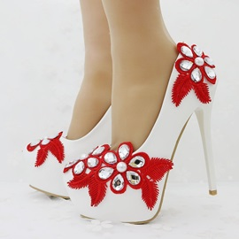 PU Patchwork Beads Rhinestone Wedding Shoes