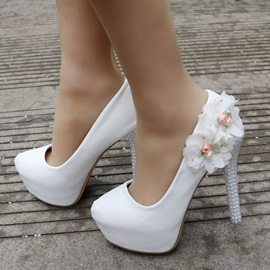 PU Beads Slip-On Floral Wedding Shoes