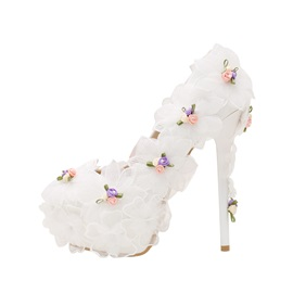 PU Floral Beads Slip-On Stiletto White Wedding Shoes