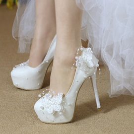 PU Lace Beads Low-Cut Upper Wedding Shoes