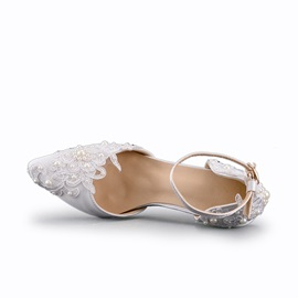 PU Beads Floral Line-Style Buckle Wedding Shoes