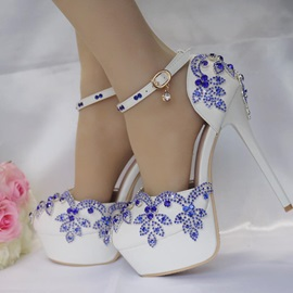 PU Rhinestone Stiletto Heel Platform Wedding Shoes