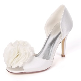 Floral Peep Toe Slip-On Stiletto Heel Wedding Shoes
