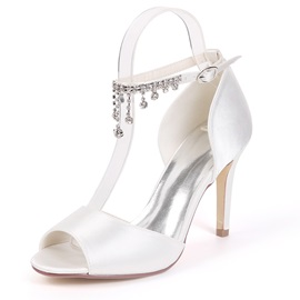 Rhinestone Peep Toe Stiletto Heel Wedding Shoes