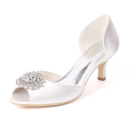Rhinestone Peep Toe Slip-On Stiletto Heel Wedding Shoes