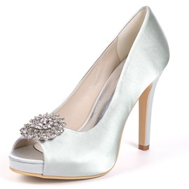 Rhinestone Peep Toe Slip-On Wedding Shoes