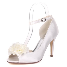 Peep Toe Line-Style Buckle Stilettos Heel Women's Wedding Shoes