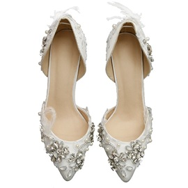PU Rhinestones Pointed Toe Stiletto Heel Wedding Shoes
