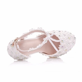 Floral T-Shaped Buckle Stiletto Heel Wedding Shoes