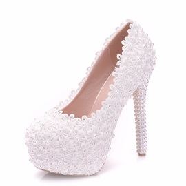 PU Beads Platform Stiletto Heel Women's Wedding Shoes