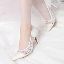 Lace Pointed Toe Slip-On Women's Wedding Shoes