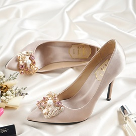 Silk Fabric Rhinestone Stiletto Heel Wedding Shoes