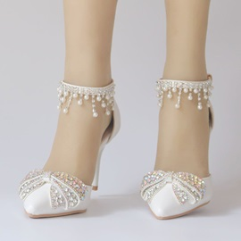 Beads Stiletto Heel Pointed Toe Wedding Shoes