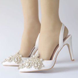 Rhinestone Slingback Strap Stiletto Heel Wedding Shoes
