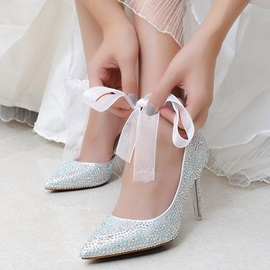 Rhinestone Pointed Toe Stiletto Heel Women's Wedding Shoes