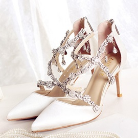 Rhinestone Zipper Pointed Toe Women's Wedding Shoes