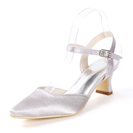 Ankle Strap Buckle Pointed Toe Chunky Heel Wedding Shoes