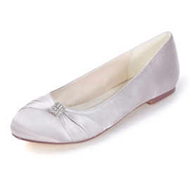 Round Toe Block Heel Slip-On Wedding Shoes