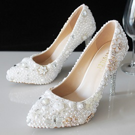 Beads Pointed Toe Slip-On Stiletto Heel Wedding Shoes