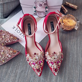 Line-Style Buckle Stiletto Heel Pointed Toe Wedding Shoes
