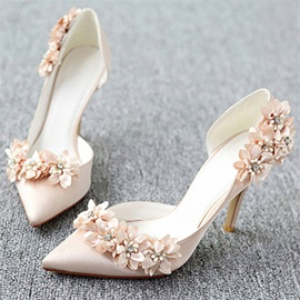 3D Floral Stiletto Heel Pointed Toe Wedding Shoes