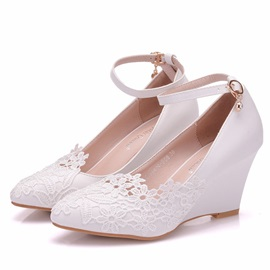 Lace Pointed Toe Wedge Heel Wedding Shoes
