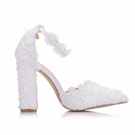 Lace Pointed Toe Chunky Heel Wedding Shoes