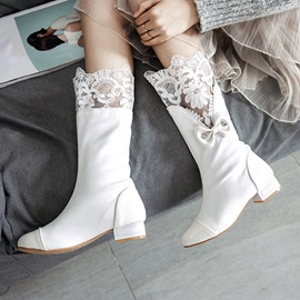 Round Toe Block Heel Wedding Boots