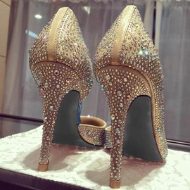 Rhinestone Pointed Toe Slip-On Stiletto Heel Wedding Shoes
