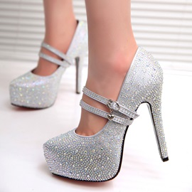 Cross Strap Rhinestone Stiletto Heel Wedding Shoes