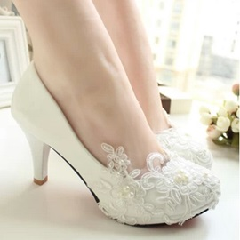Floral Round Toe Stiletto Heel Wedding Shoes