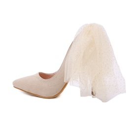 Stiletto Heel Slip-On Pointed Toe Wedding Shoes