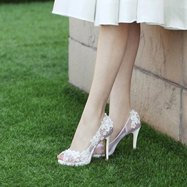 Stiletto Heel Slip-On Peep Toe Wedding Shoes