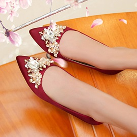 Rhinestone Block Heel Pointed Toe Wedding Shoes