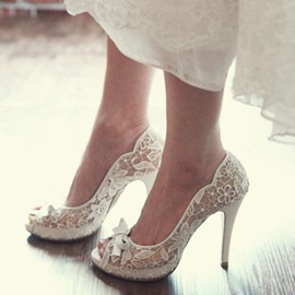 Peep Toe Stiletto Heel Bow Wedding Shoes