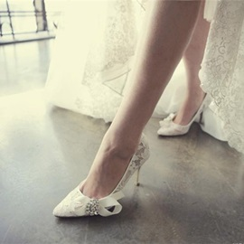 Rhinestone Pointed Toe Stiletto Heel Slip-On Wedding Shoes