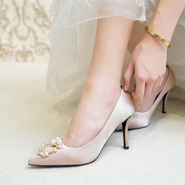 Beads Slip-On Stiletto Heel Wedding Shoes
