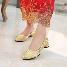Female Cloth Block Heel Pointed Toe Embroidery Bridal Shoes