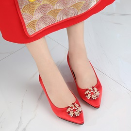 Female Thin Shoes Beads PU Mid-Heel Red Wedding Shoes