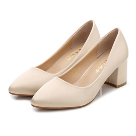 Female Pointed Toe High Heel Cloth Block Heel Wedding Shoes