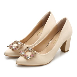 Chunky Heel Cloth Thin Shoes Pointed Toe Wedding Shoes